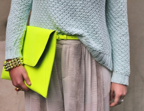Neon Yellow Clutch - streetstyle