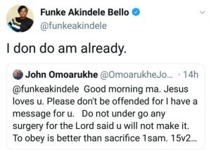 Popular Actress Funke Akindele Replies Online Prophet Who Had A Prophesy For Her.