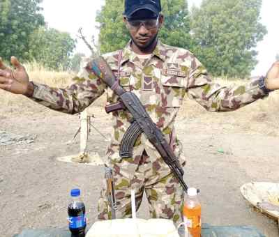 Soldier Serving In Borno State Celebrates His Birthday With Bread And Minerals. (Photos)