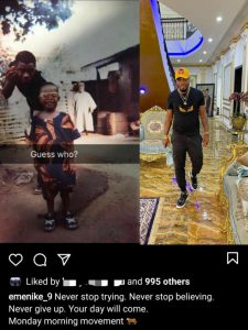 """Never stop trying"""" – Footballer, Emmanuel Emenike motivates fans with throwback ph"""