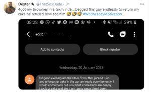 Nigerian man shares message he got from a cab driver who refused to return his brownies