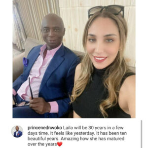 """It's been 10 beautiful years"""" – Ned Nwoko celebrates his Moroccan wife, Laila ahead of her 30th birthday."""
