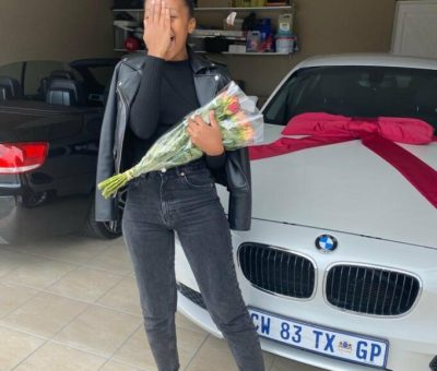 Lady excited after her man surprised her with a brand new car