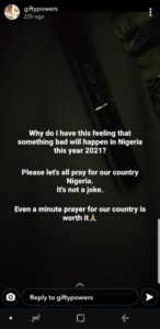 """""""I feel something bad is going to happen in Nigeria this 2021"""" – BBNaija's Gifty calls for prayers"""