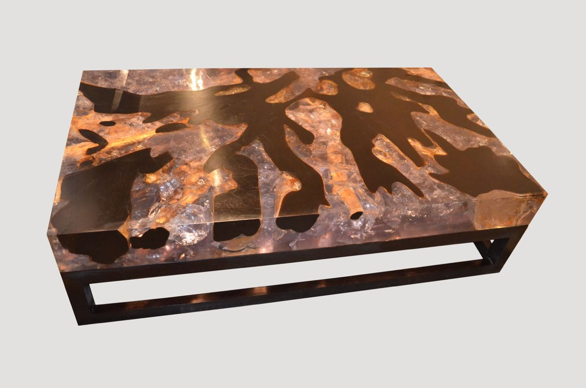 Cracked Resin Coffee Table With Base HOS  Andrianna Shamaris