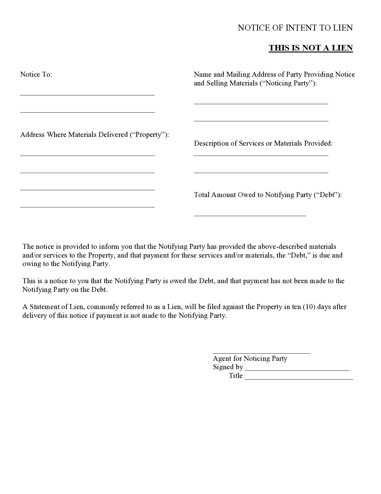 Washington Notice Of Intent To Lien Form