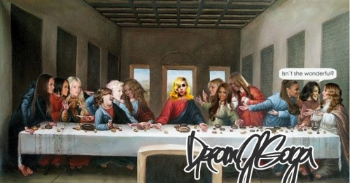 fuckyeahladygaga:  'Lady Gaga's Last Supper.' (source)  Hahahaha. I like this. There's Shakira on her right! Hell yeah!  Left of Gaga: Britney SpearsBeyonceMariah CareyJanet JacksonWhitney HoustonMadonnaRight of Gaga:ShakiraKelly ClarksonPinkJessica SimpsonRihanna