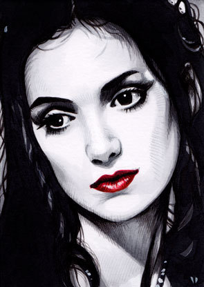 "Illustration of Winona Ryder based on the character ""Mina"" from the Francis Ford Coppola film Bram Stoker's Dracula. The artist's name is Trev Murphy (Original image source: http://trevmurphy.com/wp-content/uploads/2009/11/ebay_aceo_mina2.jpg — check out http://trevmurphy.com/ for more artwork)."