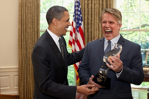 "President Barack Obama talks with Gary Busey, who was presented with the ""Oscar on the Hill Award"" for his leadership in advancing the rights of actors, in the Oval Office, April 14, 2010. (Official White House Photo by Pete Souza)"