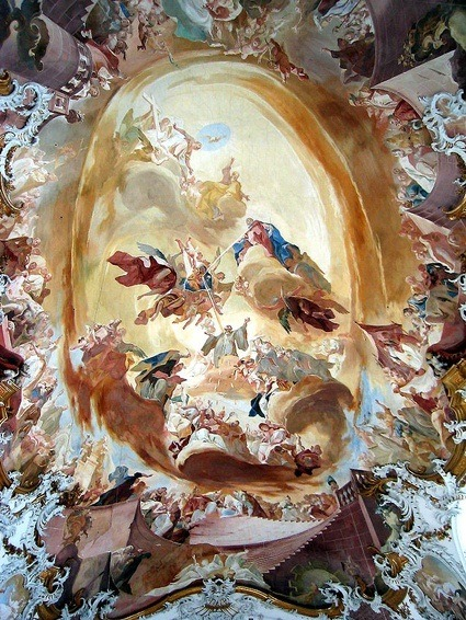 Zwiefalten, Germany: Ceiling painting in the main nave of the former abbey church, by Franz Joseph Spiegler (1751)