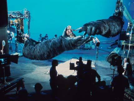 An image from behind the scenes in King Kong (1976)