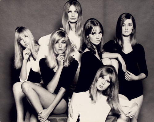 vanityfair:Top London models of the mid-1960s. From left, Jenny Boyd, Jill Kennington, Sue Murray, Celia Hammond, Pattie Boyd, and Tania Mallet. From this completely fascinating look at the making of Antonioni's Blow-Up.Healthy hanks of perfect hair.© John French.
