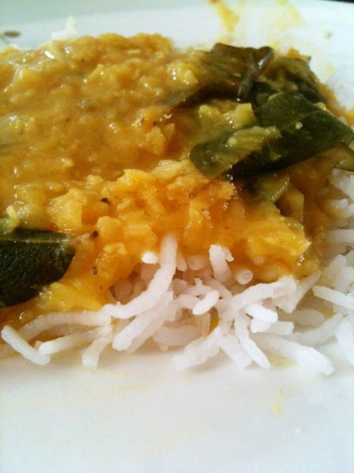 """Eating a bowlfull of white rice with dhal is like giving yourself a hug on the inside. Lifts you up instantly! Here's the recipe to the 2nd best dhal I had (first being from the kitchen of our cook for 30yrs """"baba baker"""") Coconut dal with tomatoes and curry leaves (from Rich Stiens far eastern odyssey) 250g red lentils 1 green cayenne chilli, sliced 1/2 tsp turmeric powder 4 x 2.5cm pandan leaf 200ml coconut milk 3 tbs coconut or vegetable oil 100g onions or shallots, finely chopped 15g garlic, crushed 3 dried red kashmiri chillis, broken into small pieces 12 curry leaves 1 tsp cumin seeds 1 tsp black mustard seeds 7.7cm cinnamon stick 1 tsp freshly ground coriander seeds 150g tomatoes, roughly chopped Put the lentils into a pan with the green chilli, turmeric, pandan leaf and 1 litre of water. Bring to the boil and simmer, uncovered, for 40 minutes or until the lentils have broken down and the mixture has reduced and thickened quite considerably. Add the coconut milk and leave to simmer, stiffing now and then, for another 15-20 minutes or until it has thickened once more. When the dal is cooked, heat the oil in a small frying pan. Add the onion and garlic and fry gently, stirring now and then, until golden brown. Add the dried red chillies, curry leaves, cumin seeds, mustard seeds, cinnamon stick and ground coriander and fry gently for 1 minute. Add the tomatoes and cook for another 1-2 minutes until they have just softened. Tip the mixture into the dal, stir will and season with 1 teaspoon salt or to taste. Simmer for 5 minutes then serve."""