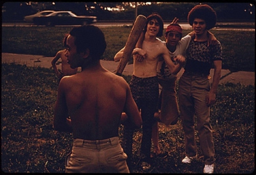 superseventies:  Boys playing baseball in Brooklyn, Summer 1974.