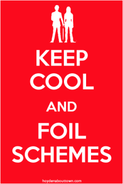 Keep Calm poster parody featuring Steed-Peel silhouette from The Avengers as the logo