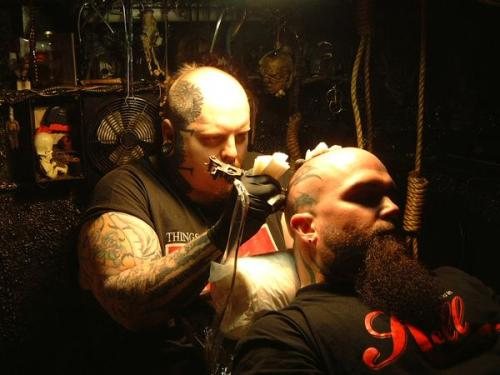 Paul Booth tattooing Kerry Kings Iconic Headpiece