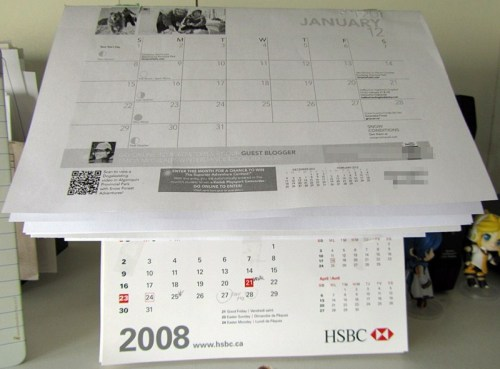 Cheapo semi-makeshift desktop 2012 Calendar