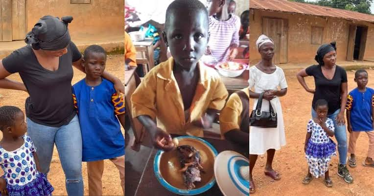 Little boy who went viral for eating fufu in school gets full sponsorship to study, he will soon relocate to Canada.
