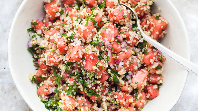 Herby Watermelon Quinoa Salad + Lemon Vinaigrette