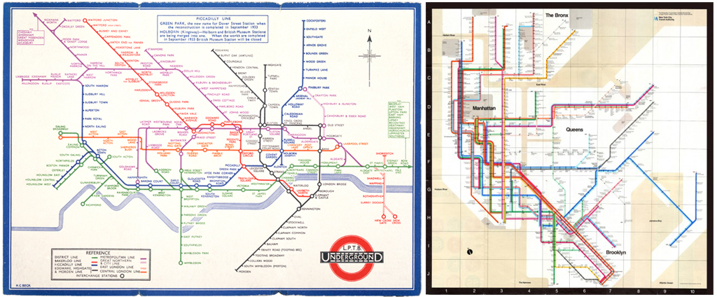 new york city subway diagram jacuzzi wiring south africa maps for cities without subways urban omnibus left harry beck s iconic 1931 the london underground right massimo vignelli 1972 map inspired by