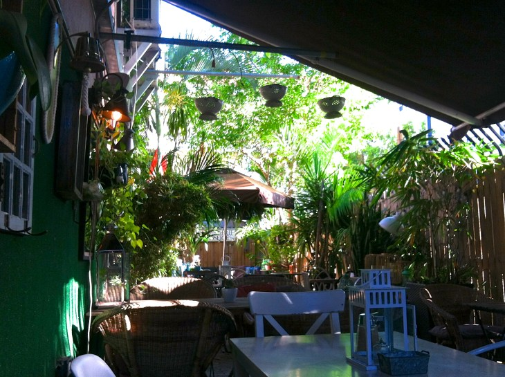 A nice little outdoor bar with a lot of greenery bear south beach area