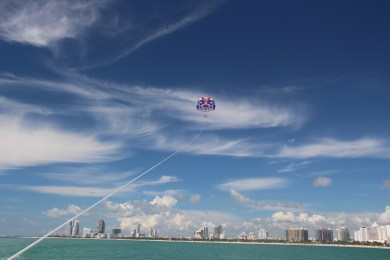 Parasailing on the South beach.. so serene and peaceful as long as you don't directly look down :)