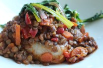 sherry lentils over pork chops with rainbow chard