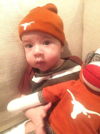 Three month old Rafe and DKR the Sock Monkey