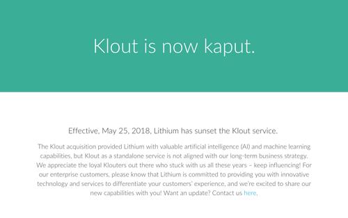 R. I. P. Thank you Klout.【追悼 Klout(クラウト)】ひっそりサービス終了。何が足りなかった?