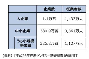 2017年(平成29年)の中小企業庁「中小企業白書」 大企業〜中小企業の従業者数