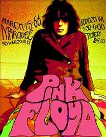 A super-fly Pink Floyd poster hand-lettered by Sarah.
