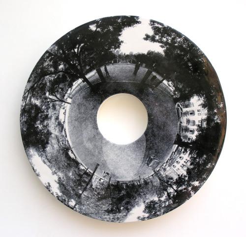 iheartmyart:  Warren Mather, Commonwealth Avenue, 2008,hand colored screen prints of digital photographs on glazed earthenware clay
