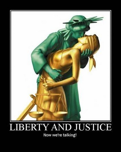 Ladies Liberty and Justice kissing