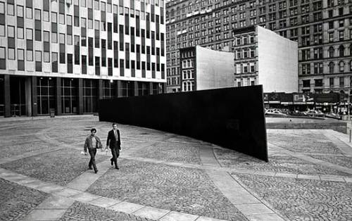 "hyperallergic:  Public Art Versus Public Good Richard Serra, ""Tilted Arc"" (1981) Over the past week, I've been writing about art's environmental impact and how that factors in to perceived artistic quality. What the debate  boils down to for me is the question of whether art is worth its cost of  production, and how we analyze a piece of art's efficacy or value. But with different forms of art come different methods of evaluation.  When we talking about public art or outdoor installations, we must  factor in another aspect of the work's impact: how does the work effect  the public whose space and resources it occupies? Since public art faces  scrutiny on a greater scale than most collector-driven contemporary  art, it has a greater audience to please, and a greater responsibility  towards transparency. READ MORE"