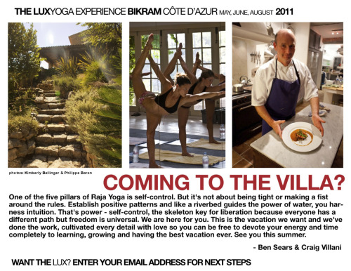 I've been on two of these Lux Yoga retreats.  Life changing! Simon Alcantara www.lux-yoga.com