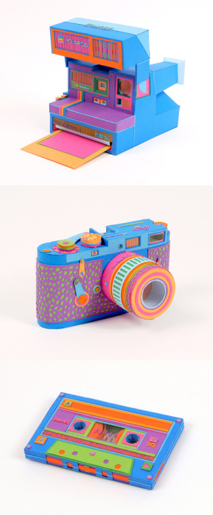 Lucie Thomas and Thibault Zimmermann, the duo behind the French design studio Zim and Zou, recreated iconic retro gadgets with brightly colored cut paper in a series they call Back to Basics.- via CMYBacon