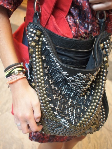 studs galore: a closer look at @teenvogue fashion editor @mksteinmiller's amazing @MalandrinoBuzz bag! I also love all her little bracelets…