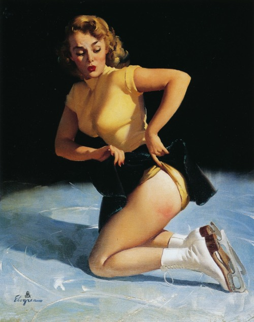 theatomicredhead:  A-Cute Injury, Gil ElvgrenВ, 1953  This is the January pin-up in my new calendar! So happy!