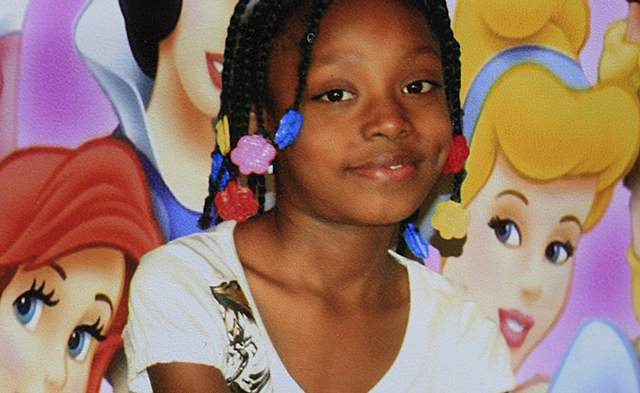 "Unlike the beautiful 6-year old Jonbenett Ramsey who received coverage all over the media - every tabloid, newspaper, news channel, talk show, 7-year old Aiyana Stanley was killed by a police officer during a raid while she was sleep and her murder received very little coverage. Police, searching for a murder suspect, threw a flash grenade through the window of her family's apartment around midnight. According to Aiyana's father, it landed on the couch, setting Aiyana on fire. A police officer's gun then went off, and shot Aiyana in the neck. Aiyana was asleep on the living room sofa in her family's apartment when Detroit police, searching for a homicide suspect, burst in and an officer's gun went off, fatally striking the girl in the neck, family members said. Her father, 25-year-old Charles Jones, told The Detroit News he had just gone to bed early Sunday after covering his daughter with her favorite blanket when he heard a flash grenade followed by a gunshot. When he rushed into the living room, he said, police forced him to lie on the ground, with his face in his daughter's blood. ""I'll never be the same. That's my only daughter,"" Jones told. We haven't forgotten about you baby. R.I.P."