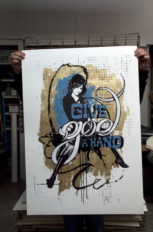 GIVE GOD A HAND3 color screen print & collage (golden foils) on 300gsm paper.70x100cm, edition of 1.