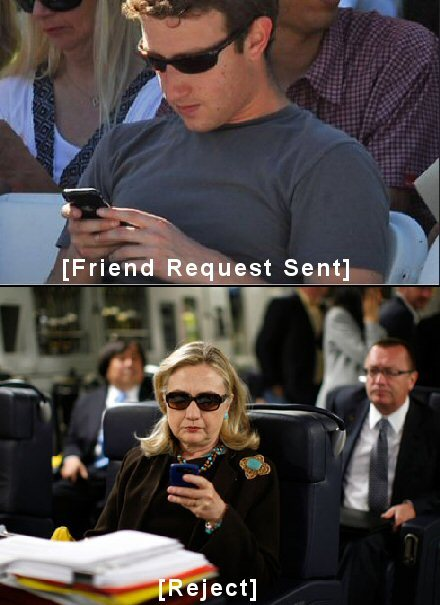 Hillary Clinton Rejecting Mark Zuckerberg's Friend Request.  Image courtesy of Texts By Hillary.