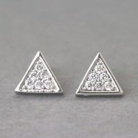 Swarovski Triangle Earrings Stud White Gold on Luulla