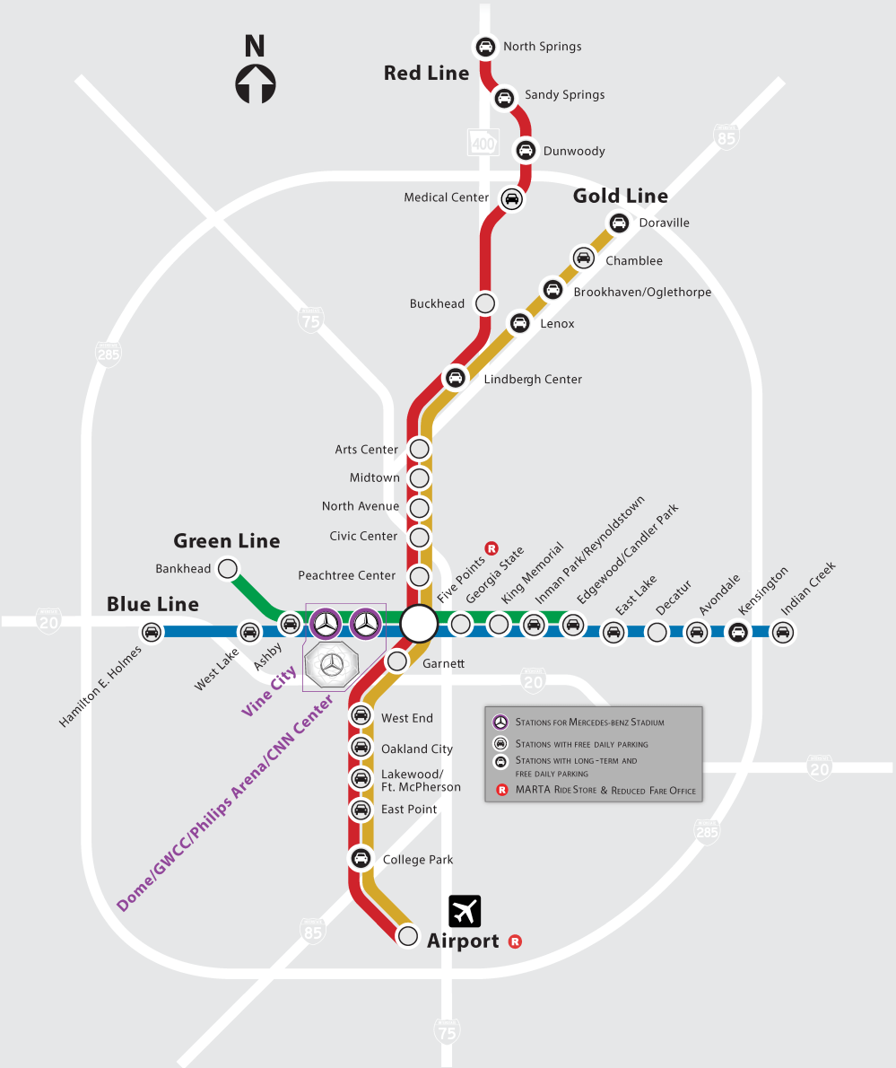 medium resolution of mercedes benz stadium s location in the heart of downtown atlanta provides convenient public transportation options to get to and from the stadium