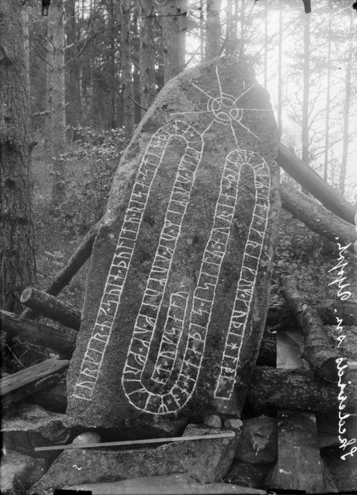"""marsiouxpial:  Rune stone, Västra Ledinge, Uppland, Sweden (via Swedish National Heritage Board) """"Rune stone (U 518) in Västra Ledinge. The inscription says: """"Torgärd and Sven, they had this stone raised in memory of Ormer and Ormulv and Fröger. He met his end in the sound of Sila (Selaön island), and the others abroad in Greece. May God help their spirits and souls"""". Runsten (U 518) i Västra Ledinge. Ristningen säger: """"Torgärd och Sven de läto resa denna sten efter Ormer och Ormulv och Fröger. Han slutade sitt liv norrut i silu (Selaön) och de andra ute i Grekland. Gud hjälpe deras ande och själ"""". Parish (socken): Skederid Province (landskap): Uppland Municipality (kommun): Norrtälje County (län): Stockholm Photograph by: Erik Brate Date: 1916 Format: Glass plate negative"""""""