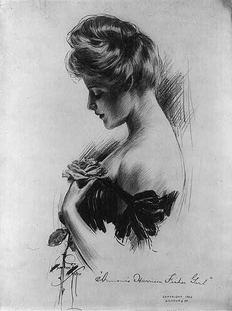 The Edwardian pompadour, illustrated by Charles Dana Gibson (1867-1944), date unknown.