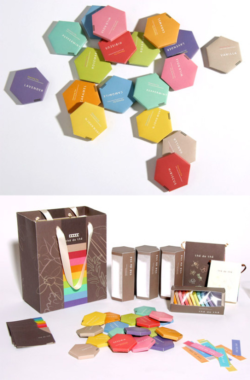 The' de The' Charming Tea by Dayoung Lee Herbal tea packaging design for Amore Pacific. (via)  I love tea. I love hexagons. I love colors.This is perfect.