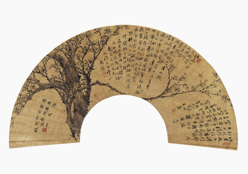Plum Blossom FanLate 19th century, Choson DynastyChong Tae-gyu (active ca. 1870), KoreanInk on paper
