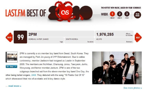 usaiamhottest:  2PM comes in #99 on Last.FMs 'Best Of 2010' with nearly 2 Million listens this year! They are the only Asian artist in the top 100! Congrats to our boys~