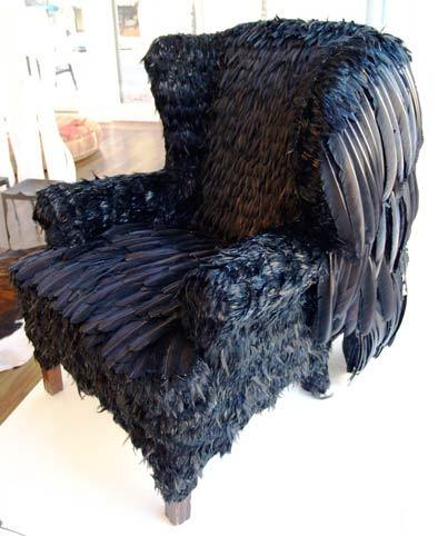 Black feather covered chair by Five Ten Studio