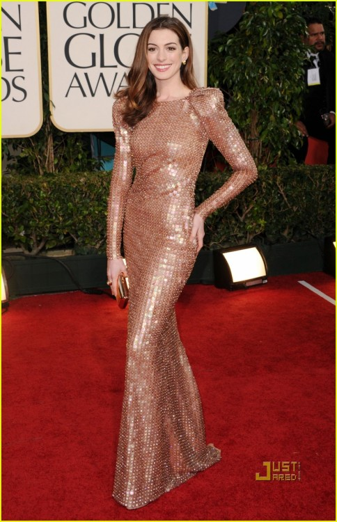 Anne Hathaway looks like she's ready to go into battle in a haute couture gladiatorial death match.